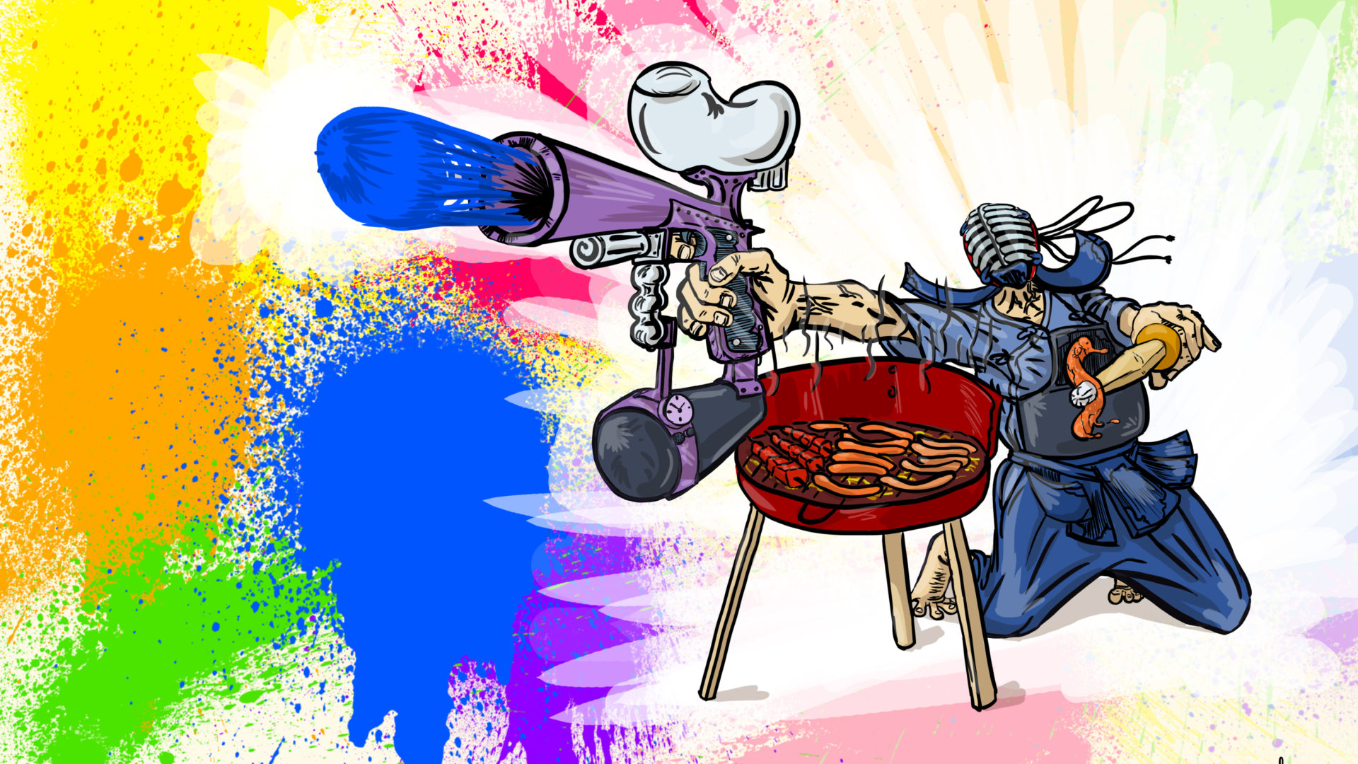 Illustration Kendo barbecue et paintball